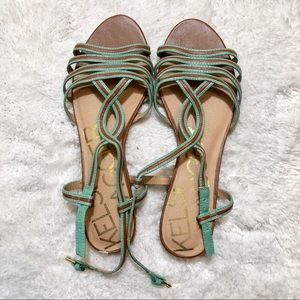 Kelsi Dagger Brooklyn Blue and Brown Sandals 8.5